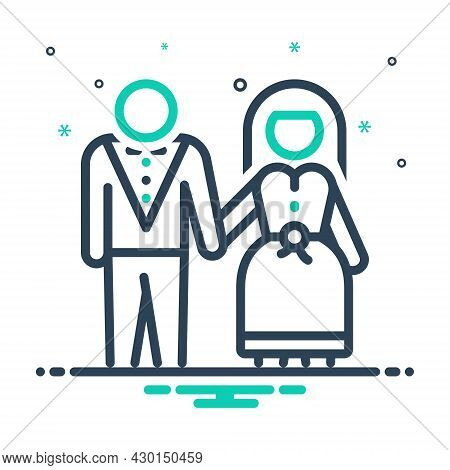 Mix Icon For Marry Make-a-match Wedding Pair-off Couple Dyad Wed Bride Groom Marriage