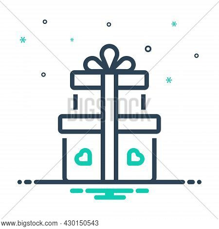Mix Icon For Gift Offering Giftware Contribution Keepsake Bounty Fairing Pack Parcel Present Box Wra