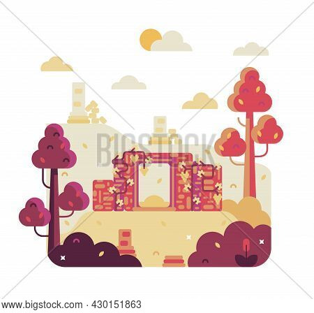 Entrance Of An Ancient Ruined House, Columns And Stones Of An Ancient Civilization - Vector Cartoon