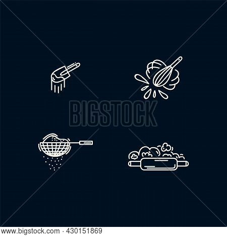 A Set Of Icons With Ingredients For Baking, Cookies And Pie. Linear Icons With Ingredients For Bakin