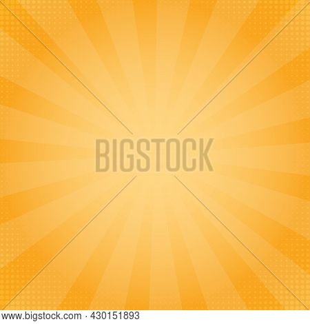 Sunburst Background In Comics Style. Flat Yellow Background With Sunbeams.