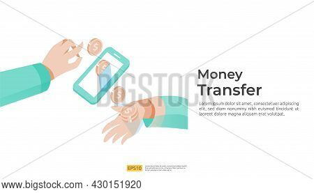 Money Transfer Vector Illustration Concept For E-commerce Market Or Shopping Online With People Char