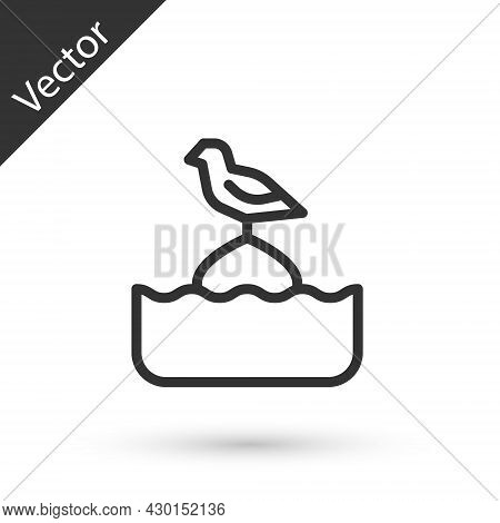Grey Line Seagull Sits On A Buoy In The Sea Icon Isolated On White Background. Vector