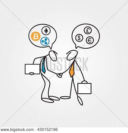Cartoon Sketch Businessmen Stick Figures Having A Dilemma