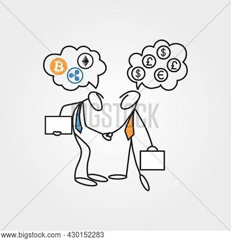 Cartoon Sketch Stick Figure Vector Businessmen Having A Dilemma