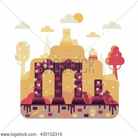 Ruined Arches Of The Ancient City - Vector Cartoon Illustration In Flat Stile