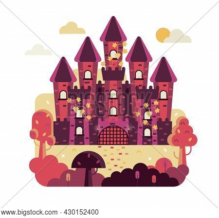 Fairytale Castle With 5 Towers Entwined With Grapes - Vector Illustration In Flat Game Design Stile,