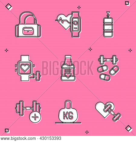 Set Sport Bag, Smart Watch With Heart, Punching, Vitamins, Sports Doping Dumbbell, Dumbbell And Weig