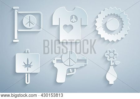Set No War, Sun, Marijuana, Flower In Vase, Peace T-shirt Print Stamp And Flag Peace Icon. Vector