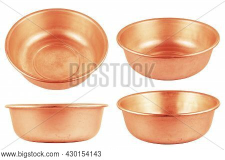 Set Of Different Views Of Used Bare Copper Made Empty Basin Isolated On White Background