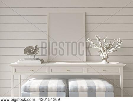 Coastal Design Room. Mockup Frame In Cozy Home Interior Background. Hampton Style 3d Render Illustra