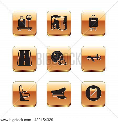 Set Scale With Suitcase, Airplane Seat, Pilot Hat, Modern Pilot Helmet, Airport Runway, Suitcase, No