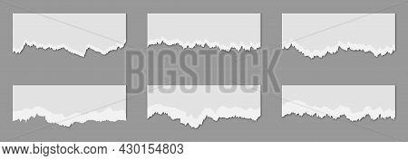 Torn Sheets Of Paper. Set Of Torn Paper Strips. Vector Illustration
