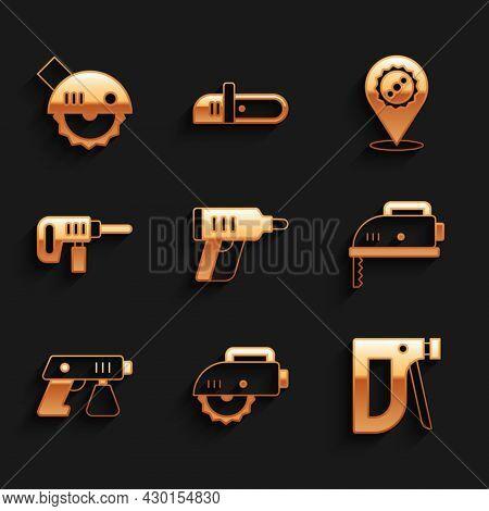 Set Electric Cordless Screwdriver, Circular Saw, Construction Stapler, Jigsaw, Paint Spray Gun, Dril