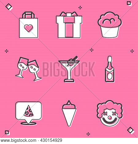 Set Shopping Bag With Heart, Gift Box, Muffin, Glass Of Champagne, Martini Glass, Champagne Bottle,