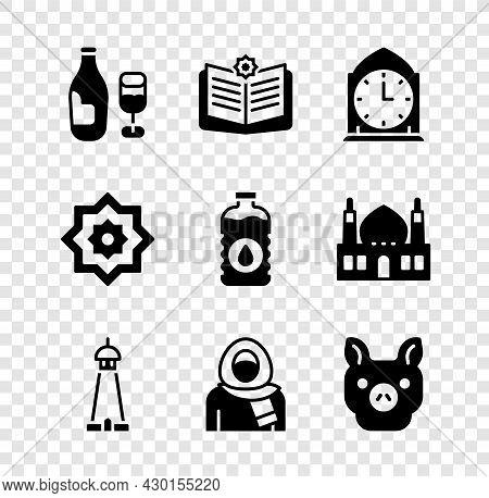 Set Wine Bottle With Glass, Holy Book Of Koran, Clock, Mosque Tower Minaret, Muslim Woman Hijab, Pig
