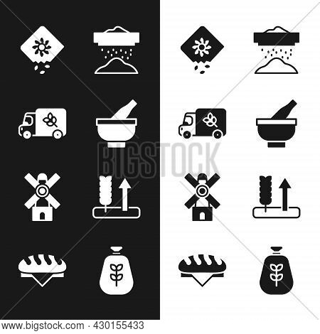 Set Mortar And Pestle, Flour Truck, Pack Full Of Seeds Of Plant, Sifting Flour, Windmill, Wheat, Bag