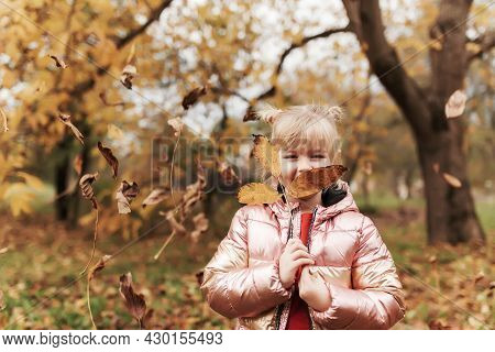 Happy Little Blonde Girl Plays With Yellow Autumn Leaves In The Garden. The Child Smiles And Has Fun