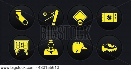 Set Baseball Mechanical Scoreboard, Ticket, Coach, Helmet, Field, Bat With, Boot And Sock Icon. Vect