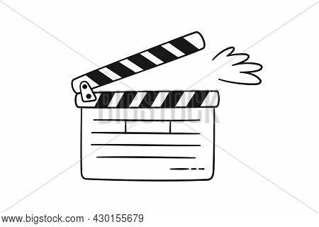Hand Drawn Cinema Clapper Board. Movie Clapperboard For Film Production. Vector Illustration Isolate