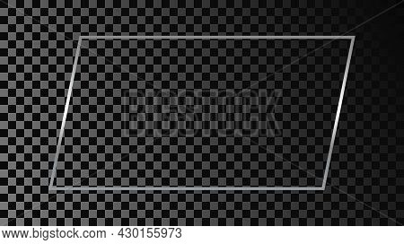 Silver Glowing Rectangular Shape Frame Isolated On Dark Transparent Background. Shiny Frame With Glo