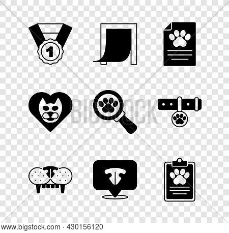 Set Dog Award Symbol, Door For Pet, Clinical Record, Cat Tooth, Nose, Heart With Cat And Veterinary