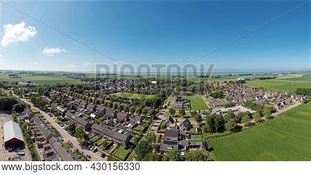 Aerial panorama from the village Ternaard in Friesland the Netherlands