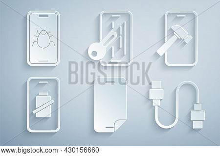 Set Glass Screen Protector, Mobile With Broken, Smartphone Battery Charge, Usb Cable Cord, And Syste