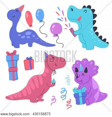 Set Of Happy Little Dinosaurs With Birthday Celebrate Birthday. Festive Party. Vector Child Cartoon