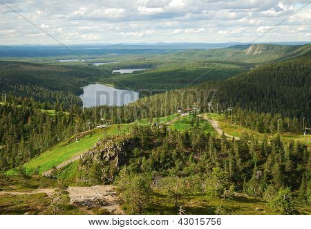 Summer Finnish Landscape From Rukatunturi