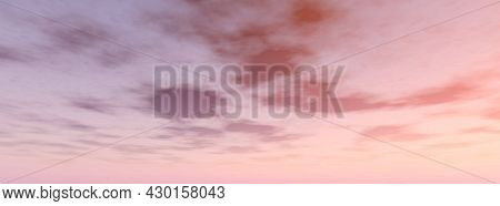 Real Majestic Sunrise Sundown Sky Background With Gentle Colorful Clouds Without Birds. Panoramic.