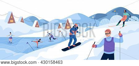 Winter Sport. People Ski And Snowboard On Snow Slope, Athletes In Sportswear Train At Rink, People O