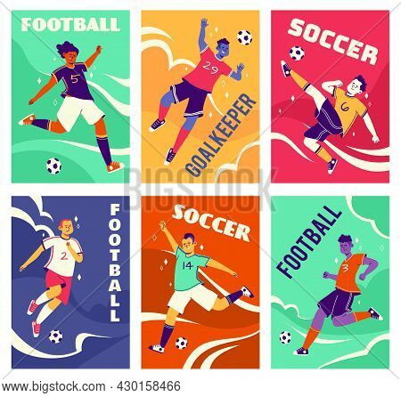 Soccer Players Cards. Footballers In Different Dynamic Poses, Leading And Hitting Ball, Athletes In