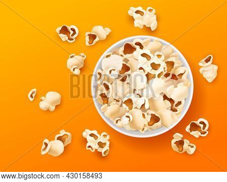 Popcorn Top View. Realistic Snacks In Paper Bucket, Cup Corn Souffles On Bright Color Background, Sa