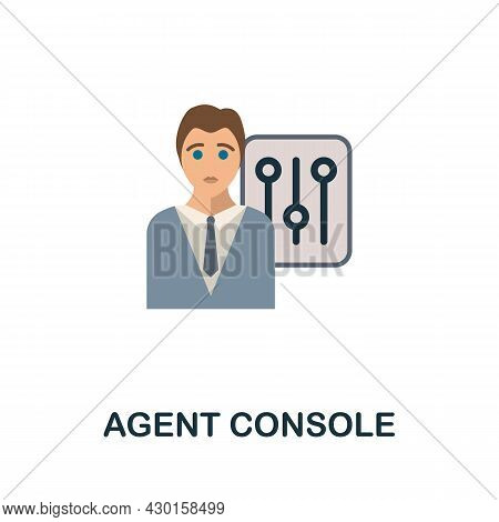 Agent Console Flat Icon. Colored Sign From Customer Service Collection. Creative Agent Console Icon