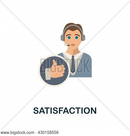 Satisfaction Flat Icon. Colored Sign From Customer Service Collection. Creative Satisfaction Icon Il