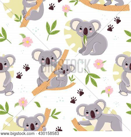 Cute Koalas. Seamless Background With Kids Mini Bears, Tropical Leaves, Baby Nursery Design, Fluffy
