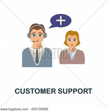 Customer Support Flat Icon. Colored Sign From Customer Service Collection. Creative Customer Support