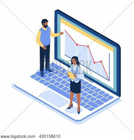 Isometric Office. Business People Standing On Huge Laptop, Project On Screen, Team Work Place Struct