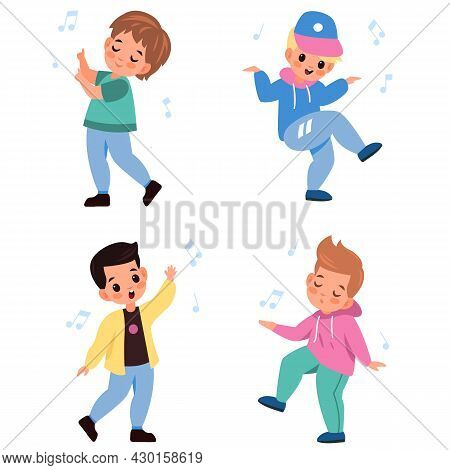 Kids Dancing. Children Characters Dance And Sing, Little Happy Boys Listen Melodies, Young Music Lov