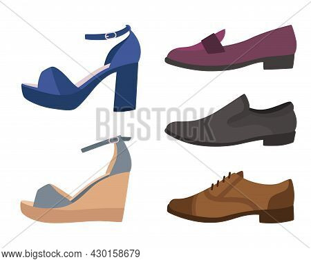 Shoes And Boots. Various Types Of Mens Or Womens Footwear. Side View Of Casual Sandals With High Hee