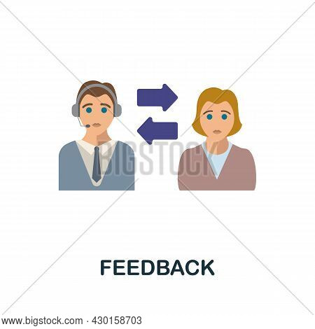 Feedback Flat Icon. Colored Sign From Customer Service Collection. Creative Feedback Icon Illustrati