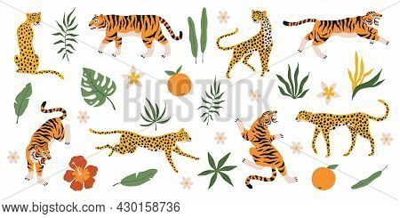Tigers, Leopards And Jaguars With Tropical Plants. Wild Animals, Palm Leaves Flowers And Fruits, Saf