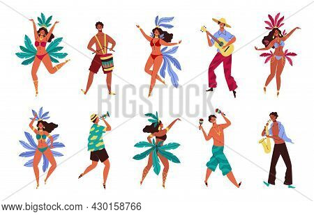 Brazil Carnival. Rio De Janeiro Samba Festival. Women And Men In Colorful Costumes With Feathers And