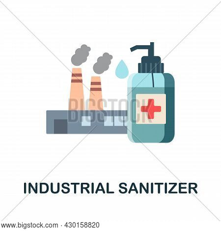 Industrial Sanitizer Flat Icon. Colored Sign From Disinfection Collection. Creative Industrial Sanit