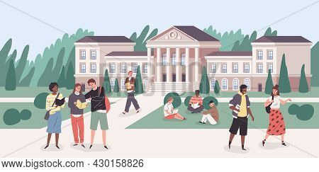 University Park. Young People Groups Walking With Books In Student Campus. Cartoon Cityscape With Co