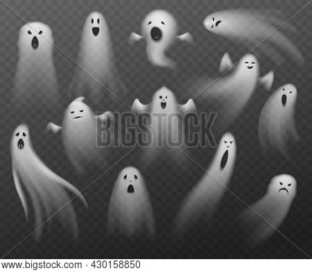Realistic Ghosts. Transparent Different Halloween Phantoms. Isolated Flying Spooky Dead Souls. Angry