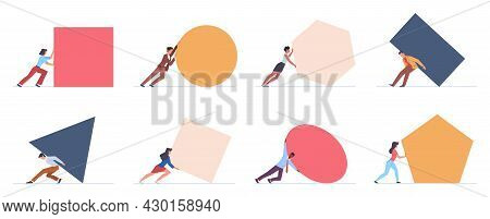 People Pushing Big Shapes. Tiny Men And Women Push Different Pieces. Business Metaphor. Hard Difficu