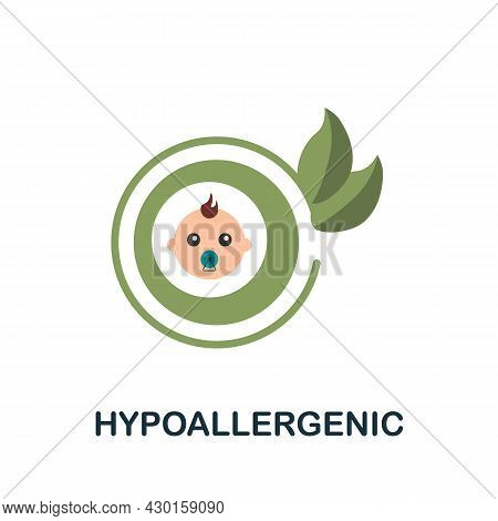 Hypoallergenic Icon. Flat Sign Element From Eco Friendly Product Collection. Creative Hypoallergenic