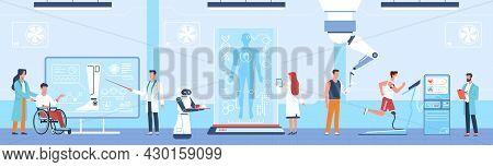 Bionic Technologies. Prosthetic Medicine, Mechanical Limbs, Science Robotic Invention, Tech Progress